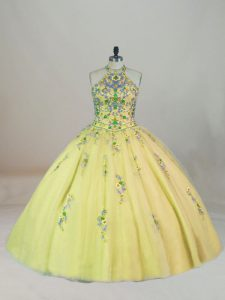 Designer Appliques and Embroidery 15th Birthday Dress Yellow Lace Up Sleeveless Brush Train
