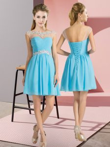 Aqua Blue Bateau Neckline Beading Court Dresses for Sweet 16 Cap Sleeves Lace Up