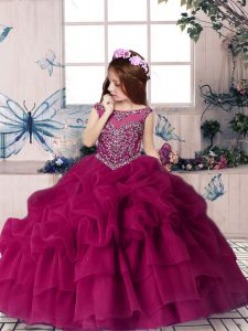 Beauteous Fuchsia Girls Pageant Dresses Party and Wedding Party with Beading and Pick Ups Scoop Sleeveless Lace Up
