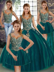 Pretty Peacock Green Sleeveless Floor Length Beading and Appliques Lace Up Ball Gown Prom Dress