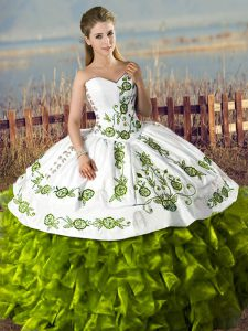 Elegant Floor Length Olive Green Ball Gown Prom Dress Sweetheart Sleeveless Lace Up