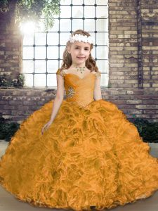 Gold Ball Gowns Beading Little Girls Pageant Dress Lace Up Fabric With Rolling Flowers Sleeveless Asymmetrical