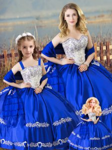 Superior Sleeveless Floor Length Beading and Embroidery Lace Up 15 Quinceanera Dress with Royal Blue