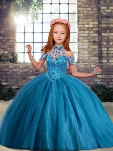 Adorable High-neck Sleeveless Lace Up Little Girl Pageant Dress Blue Tulle
