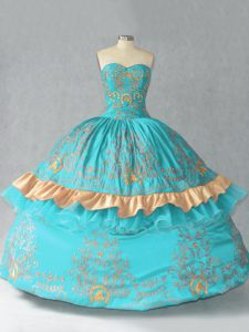 Sweetheart Sleeveless Lace Up Quinceanera Dress Aqua Blue Satin and Organza