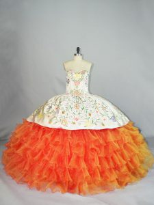New Arrival Orange Sweetheart Neckline Embroidery and Ruffles Sweet 16 Quinceanera Dress Sleeveless Lace Up
