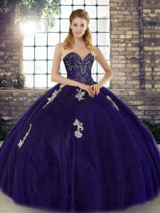 Top Selling Purple Quinceanera Dresses Military Ball and Sweet 16 and Quinceanera with Beading and Appliques Sweetheart Sleeveless Lace Up