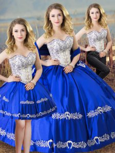 Custom Designed Royal Blue Sleeveless Floor Length Beading and Embroidery Lace Up Quinceanera Dress