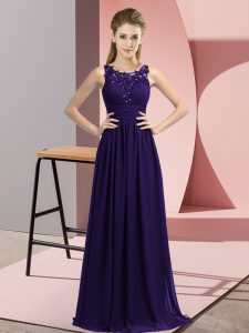 Floor Length Zipper Damas Dress Purple and In with Beading and Appliques