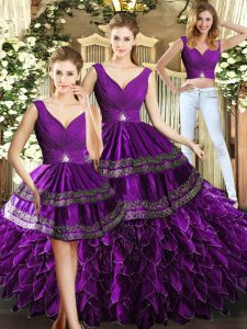 Wonderful Organza Sleeveless Floor Length Vestidos de Quinceanera and Beading and Embroidery and Ruffles