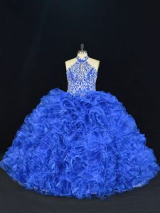 Fashion Royal Blue Halter Top Lace Up Beading and Ruffles Vestidos de Quinceanera Sleeveless