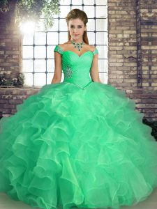 Graceful Floor Length Turquoise Quinceanera Dresses Off The Shoulder Sleeveless Lace Up