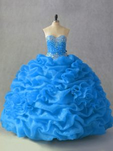 Blue Sweetheart Neckline Beading and Pick Ups and Hand Made Flower Quinceanera Gowns Sleeveless Lace Up