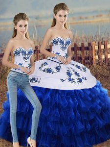 Artistic Royal Blue Lace Up Sweetheart Embroidery and Ruffled Layers and Bowknot 15th Birthday Dress Organza Sleeveless