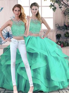 Turquoise Ball Gowns Scoop Sleeveless Tulle Floor Length Zipper Beading and Ruffles Sweet 16 Dresses