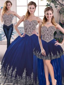 Decent Royal Blue Sweetheart Neckline Embroidery 15 Quinceanera Dress Sleeveless Lace Up