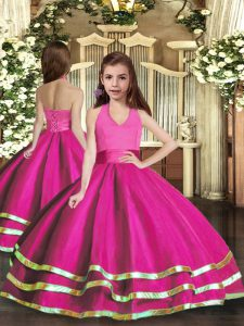 High End Fuchsia Organza Lace Up Halter Top Sleeveless Floor Length Custom Made Pageant Dress Ruffled Layers