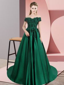 Lace Teens Party Dress Green Zipper Sleeveless Court Train