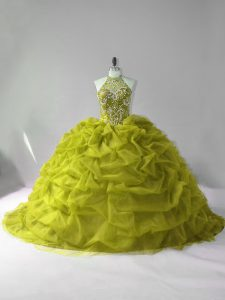 Charming Olive Green Ball Gowns Tulle Halter Top Sleeveless Beading and Pick Ups Lace Up Quince Ball Gowns Court Train