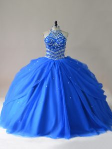 Floor Length Royal Blue Sweet 16 Dress Halter Top Sleeveless Lace Up
