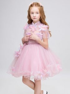 New Style Short Sleeves Appliques Zipper Toddler Flower Girl Dress
