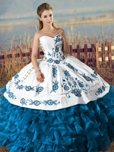 Fashionable Blue And White Sleeveless Floor Length Embroidery and Ruffles Lace Up Quinceanera Dress