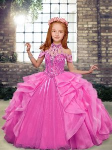 Fancy Floor Length Ball Gowns Sleeveless Rose Pink Little Girl Pageant Dress Lace Up