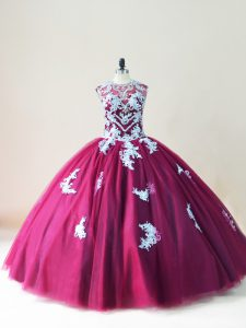 Cute Burgundy Tulle Lace Up Scoop Sleeveless Floor Length 15 Quinceanera Dress Beading and Appliques