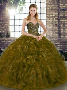 Floor Length Brown Sweet 16 Dress Organza Sleeveless Beading and Ruffles