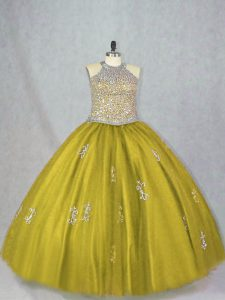 Fantastic Olive Green Lace Up 15th Birthday Dress Beading and Appliques Sleeveless Floor Length