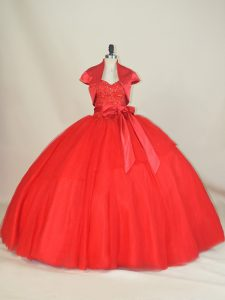Inexpensive Red Ball Gowns Sweetheart Sleeveless Tulle Floor Length Lace Up Beading and Bowknot Quinceanera Dresses