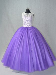 Lavender Sleeveless Floor Length Lace Lace Up Sweet 16 Dress