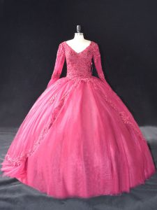 Hot Pink Ball Gowns Tulle V-neck Long Sleeves Lace and Appliques Floor Length Lace Up Sweet 16 Dress