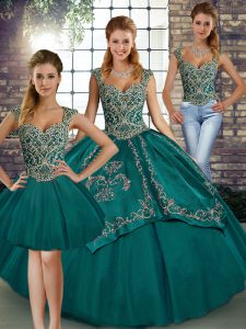 Floor Length Teal Womens Party Dresses Straps Sleeveless Lace Up