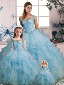 Light Blue Organza Lace Up Off The Shoulder Sleeveless Floor Length Sweet 16 Dresses Beading and Ruffles