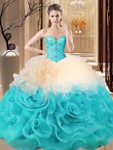 Delicate Floor Length Ball Gowns Sleeveless Multi-color 15 Quinceanera Dress Lace Up