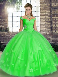 Unique Green Lace Up Off The Shoulder Beading and Appliques Sweet 16 Dress Tulle Sleeveless