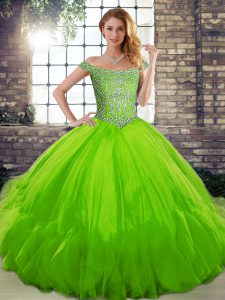 Dramatic Sleeveless Beading and Ruffles Lace Up Ball Gown Prom Dress