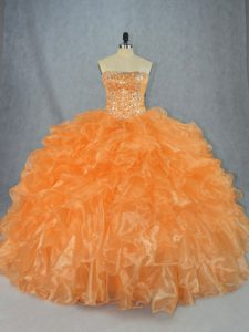High Class Orange Sleeveless Floor Length Beading and Ruffles Lace Up Juniors Party Dress