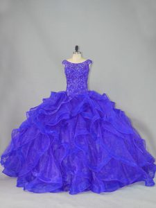 Blue Sleeveless Organza Brush Train Lace Up Sweet 16 Dress for Sweet 16 and Quinceanera
