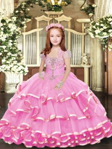 Lilac Organza Lace Up Straps Sleeveless Floor Length Little Girls Pageant Dress Wholesale Beading and Ruffled Layers