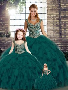 Super Straps Sleeveless Organza 15th Birthday Dress Beading and Ruffles Lace Up