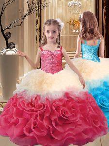 Super Ball Gowns Little Girls Pageant Gowns Multi-color Straps Fabric With Rolling Flowers Sleeveless Floor Length Lace Up