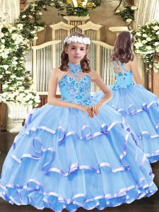 Hot Sale Sleeveless Organza Floor Length Lace Up Kids Formal Wear in Baby Blue with Appliques and Ruffled Layers