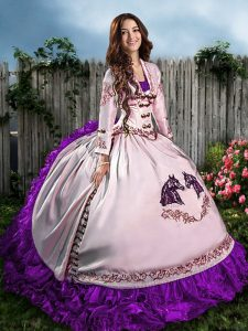 Spectacular Purple Satin Lace Up Sweetheart Sleeveless Floor Length Sweet 16 Dresses Embroidery and Ruffles