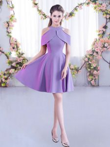 Lavender Chiffon Zipper High-neck Short Sleeves Mini Length Quinceanera Court of Honor Dress Ruching