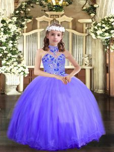 Excellent Sleeveless Appliques Lace Up Little Girls Pageant Gowns