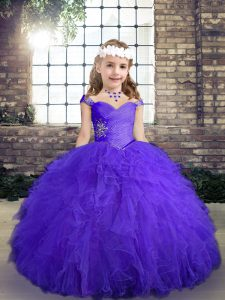 Purple Straps Lace Up Beading and Ruffles Little Girl Pageant Dress Sleeveless