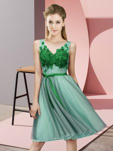 Modest Knee Length Empire Sleeveless Apple Green Quinceanera Dama Dress Lace Up