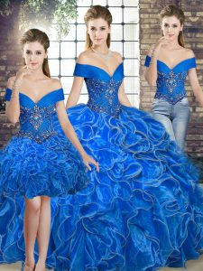 Sweet Royal Blue Lace Up Quinceanera Dress Beading and Ruffles Sleeveless Floor Length